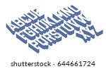 3d retro font vector aphabet.  | Shutterstock .eps vector #644661724