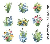 set of watercolor elements with ... | Shutterstock . vector #644668285