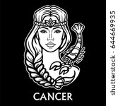 zodiac sign cancer. fantastic... | Shutterstock .eps vector #644669935
