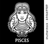 zodiac sign pisces. fantastic... | Shutterstock .eps vector #644669989
