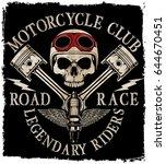 motorcycle helmet typography... | Shutterstock .eps vector #644670451