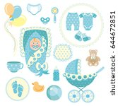 little man baby shower related... | Shutterstock .eps vector #644672851