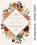 wedding invitation. summer and... | Shutterstock .eps vector #644673547