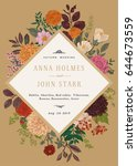 wedding invitation. colorful... | Shutterstock .eps vector #644673559