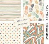 set of 4 vintage seamless... | Shutterstock .eps vector #644674147
