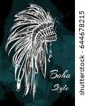 vintage indian headdress with... | Shutterstock .eps vector #644678215