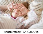 pretty little girl playing... | Shutterstock . vector #644680045