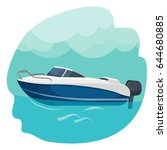 high speed motor boat sailing...
