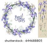 irises   wreath and single.... | Shutterstock .eps vector #644688805