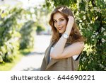 beautiful happy woman with a... | Shutterstock . vector #644690221