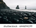 Stones On A Black Beach In...