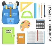 school bag backpack full of... | Shutterstock .eps vector #644699284