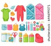 big set baby stuff.   ute set... | Shutterstock .eps vector #644699371
