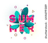 design banner with summer text. ... | Shutterstock .eps vector #644699389