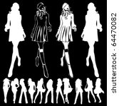 a lot of vector silhouettes of... | Shutterstock .eps vector #64470082