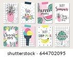 vector set of bright summer... | Shutterstock .eps vector #644702095