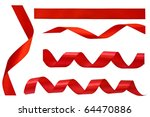 set of red ribbons isolated on... | Shutterstock . vector #64470886