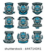 a set of colored emblems  logos ... | Shutterstock .eps vector #644714341
