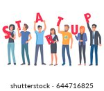 young people holding red...   Shutterstock .eps vector #644716825
