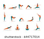 young girl practicing yoga  set ... | Shutterstock .eps vector #644717014