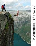 base jump off a cliff.   Shutterstock . vector #64471717