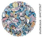 cartoon cute doodles hand drawn ... | Shutterstock .eps vector #644719567