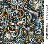 cartoon hand drawn nautical... | Shutterstock .eps vector #644719615