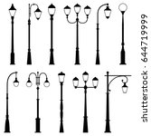 Set Of Street Lamps  Vector...