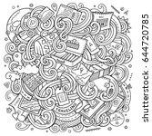cartoon cute doodles hand drawn ... | Shutterstock .eps vector #644720785