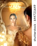 beauty glamour lady looking in... | Shutterstock . vector #644721649