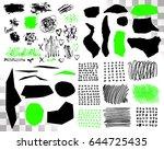 vector set of brush acrylic... | Shutterstock .eps vector #644725435