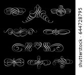 set collection of calligraphic... | Shutterstock .eps vector #644728795