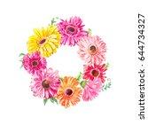 wreath of pink gerberas or... | Shutterstock . vector #644734327