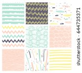 hand drawn pattern collection.... | Shutterstock .eps vector #644735371