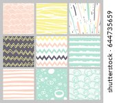 Stock vector hand drawn pattern collection simple textures for bacgkround fabric scrapbook baby shower or 644735659