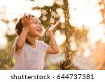 happy asian little child girl... | Shutterstock . vector #644737381