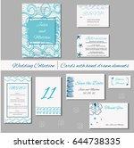 wedding invitation  thank you ... | Shutterstock .eps vector #644738335