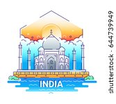 india   modern line travel... | Shutterstock . vector #644739949
