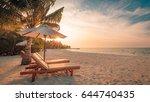 serene beach scene. idyllic... | Shutterstock . vector #644740435
