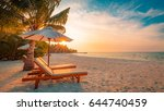 perfect beach scene. idyllic... | Shutterstock . vector #644740459