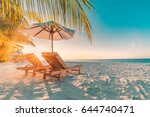 perfect sunset beach. idyllic... | Shutterstock . vector #644740471