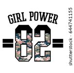 girl power text with camouflage ... | Shutterstock .eps vector #644741155