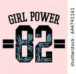 girl power text with tropical... | Shutterstock .eps vector #644741161