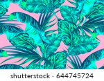 tropical palm leaves  jungle... | Shutterstock .eps vector #644745724