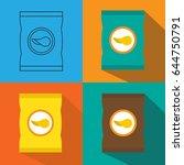 set of potato chips icon.... | Shutterstock .eps vector #644750791