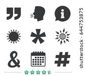 quote  asterisk footnote icons. ... | Shutterstock .eps vector #644753875