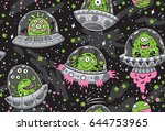 seamless pattern with cartoon... | Shutterstock .eps vector #644753965
