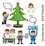 holiday and people profession... | Shutterstock .eps vector #644754634