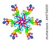 rainbow geckos  lizard  mandala   Shutterstock . vector #644756035