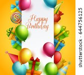 birthday background. vector... | Shutterstock .eps vector #644756125